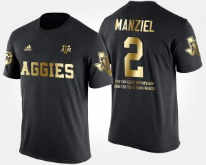 Texas A&M Aggies Johnny Manziel T-Shirt Black Gold Limited Short Sleeve With Message #2 Men's