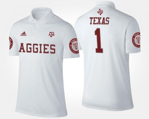 Texas A&M Aggies Polo #1 No.1 Short Sleeve For Men White
