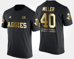 Texas A&M Aggies Von Miller T-Shirt Mens Black Short Sleeve With Message #40 Gold Limited