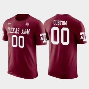 Texas A&M Aggies Custom T-Shirts Cotton Football Future Stars Mens #00 Crimson