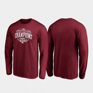 Texas A&M Aggies T-Shirt Maroon 2019 Texas Bowl Champions Men's Corner Long Sleeve