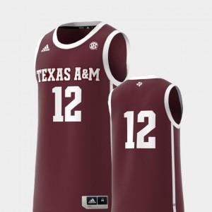 Texas A&M Aggies Jersey #12 Basketball Swingman Men's Maroon College Replica
