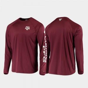 Texas A&M Aggies T-Shirt PFG Terminal Tackle Long Sleeve Maroon For Men's Omni-Shade