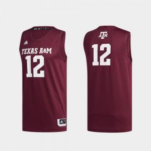 Texas A&M Aggies Jersey Swingman Basketball #12 For Men Maroon Basketball Swingman
