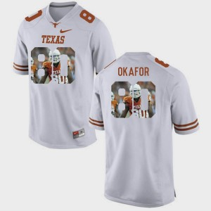 Texas Longhorns Alex Okafor Jersey White #80 Men Pictorial Fashion