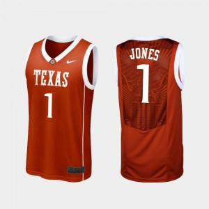 Texas Longhorns Andrew Jones Jersey Men Replica Burnt Orange #1 College Basketball