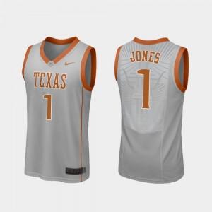 Texas Longhorns Andrew Jones Jersey #1 Gray Replica For Men's College Basketball