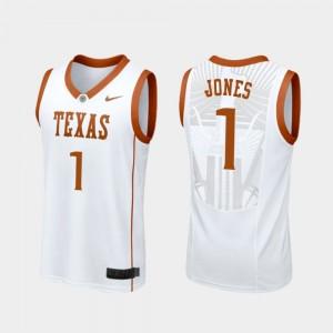 Texas Longhorns Andrew Jones Jersey College Basketball For Men Replica #1 White