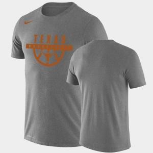 Texas Longhorns T-Shirt Performance Basketball For Men's Drop Legend Gray