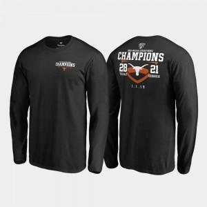 Texas Longhorns T-Shirt 2019 Sugar Bowl Champions Black Fair Catch Score Long Sleeve Mens