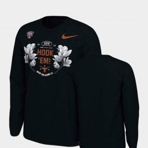 Texas Longhorns T-Shirt Verbiage Long Sleeve Black Men's 2019 Sugar Bowl Bound