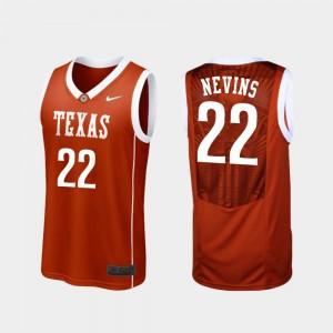 Texas Longhorns Blake Nevins Jersey For Men College Basketball Burnt Orange Replica #22