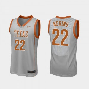 Texas Longhorns Blake Nevins Jersey Men Replica #22 College Basketball Gray