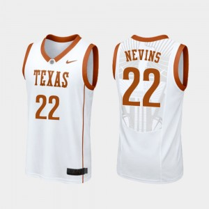 Texas Longhorns Blake Nevins Jersey Replica White College Basketball For Men's #22