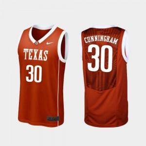 Texas Longhorns Brock Cunningham Jersey #30 Burnt Orange College Basketball For Men Replica