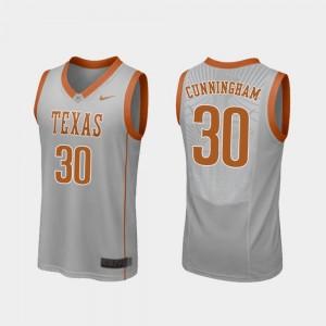 Texas Longhorns Brock Cunningham Jersey For Men Gray #30 College Basketball Replica