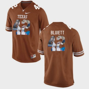 Texas Longhorns Caleb Bluiett Jersey Pictorial Fashion Brunt Orange #42 For Men's