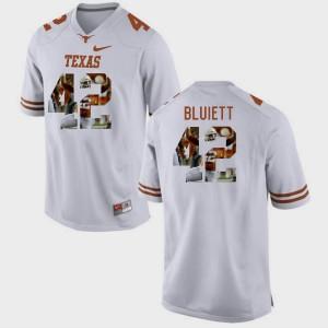 Texas Longhorns Caleb Bluiett Jersey #42 Mens Pictorial Fashion White