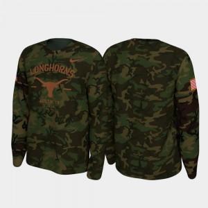 Texas Longhorns T-Shirt Legend Long Sleeve 2019 Veterans Day Men Camo