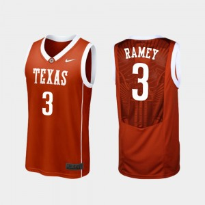 Texas Longhorns Courtney Ramey Jersey Burnt Orange College Basketball Mens #3 Replica