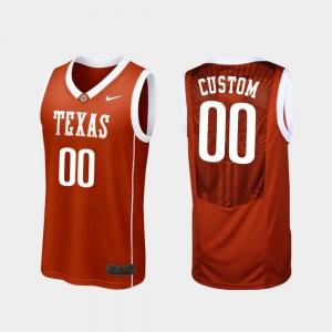 Texas Longhorns Custom Jerseys Mens College Basketball Replica #00 Burnt Orange