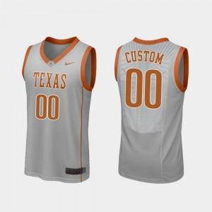 Texas Longhorns Custom Jersey Mens Gray #00 Replica College Basketball