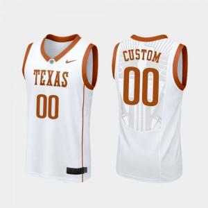 Texas Longhorns Custom Jerseys For Men's White Replica #00 College Basketball