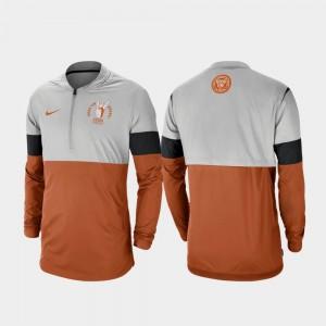 Texas Longhorns Jacket For Men Football Half-Zip Rivalry Gray Texas Orange