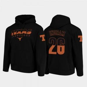 Texas Longhorns Keaontay Ingram Hoodie For Men's Black #26 College Football Pullover Wedge Performance