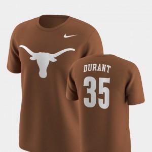 Texas Longhorns Kevin Durant T-Shirt #35 Future Stars Texas Orange Replica For Men
