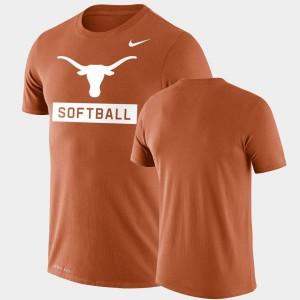 Texas Longhorns T-Shirt Mens Drop Legend Performance Softball Orange