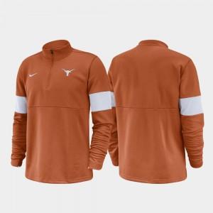 Texas Longhorns Jacket Mens 2019 Coaches Sideline Half-Zip Performance Texas Orange