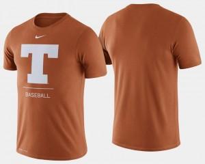 Texas Longhorns T-Shirt Dugout Performance Texas Orange For Men's College Baseball