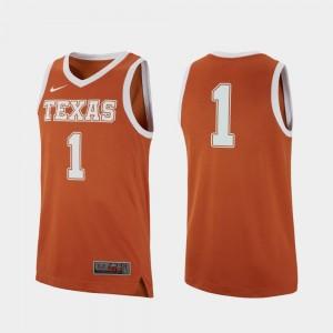 Texas Longhorns Jersey #1 Texas Orange Replica College Basketball For Men's