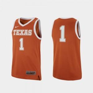 Texas Longhorns Jersey College Basketball #1 Texas Orange For Men Replica