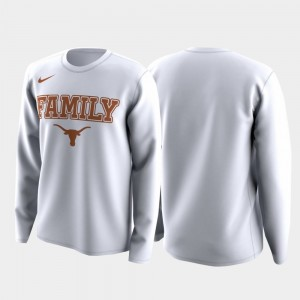 Texas Longhorns T-Shirt Mens Family on Court March Madness Legend Basketball Long Sleeve White