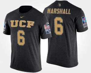 UCF Knights Brandon Marshall T-Shirt Black American Athletic Conference Peach Bowl Bowl Game For Men's #6