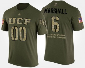 UCF Knights Brandon Marshall T-Shirt Camo #6 Short Sleeve With Message For Men's Military