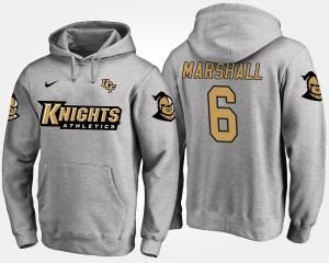 UCF Knights Brandon Marshall Hoodie Gray #6 For Men's