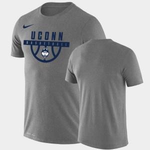 UConn Huskies T-Shirt Performance Basketball Heathered Gray Drop Legend Men