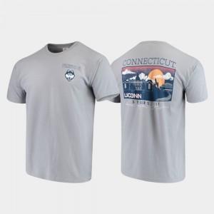 UConn Huskies T-Shirt Gray Comfort Colors Campus Scenery For Men's