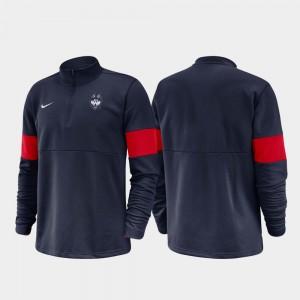 UConn Huskies Jacket For Men's 2019 Coaches Sideline Half-Zip Performance Navy