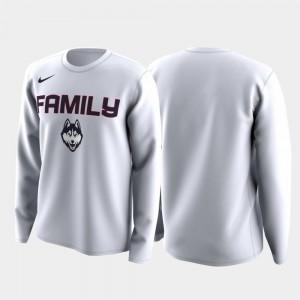 UConn Huskies T-Shirt Family on Court White For Men March Madness Legend Basketball Long Sleeve