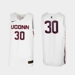 UConn Huskies Jersey Replica White #30 Mens College Basketball