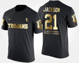 USC Trojans Adoree' Jackson T-Shirt #21 Men Short Sleeve With Message Black Gold Limited