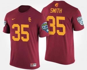 USC Trojans Cameron Smith T-Shirt Bowl Game #35 Pac-12 Conference Cotton Bowl Men's Cardinal