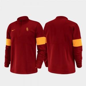 USC Trojans Jacket Cardinal Men Half-Zip Performance 2019 Coaches Sideline
