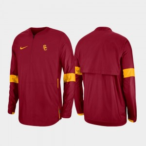 USC Trojans Jacket 2019 Coaches Sideline Quarter-Zip Cardinal Men