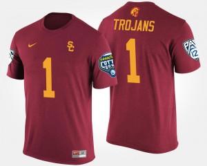 USC Trojans T-Shirt Bowl Game No.1 Pac-12 Conference Cotton Bowl #1 For Men Cardinal