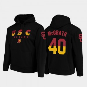 USC Trojans Chase McGrath Hoodie College Football Pullover Wedge Performance Black #40 Mens
